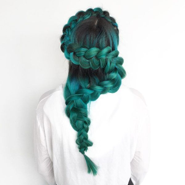 turquoise and black ombre hair