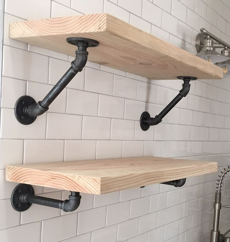 Top: Industrial Pipe Shelf with 45 degree angle.  Bottom: Industrial Pipe Shelf, 7 inch extention  Tile screws used to mount the hardware. - - - - - - - - - - - Tags: DIY, Black, Iron, Industrial, Raw, Furniture, Steampunk, Plumbing Pipe, Gas Pipe