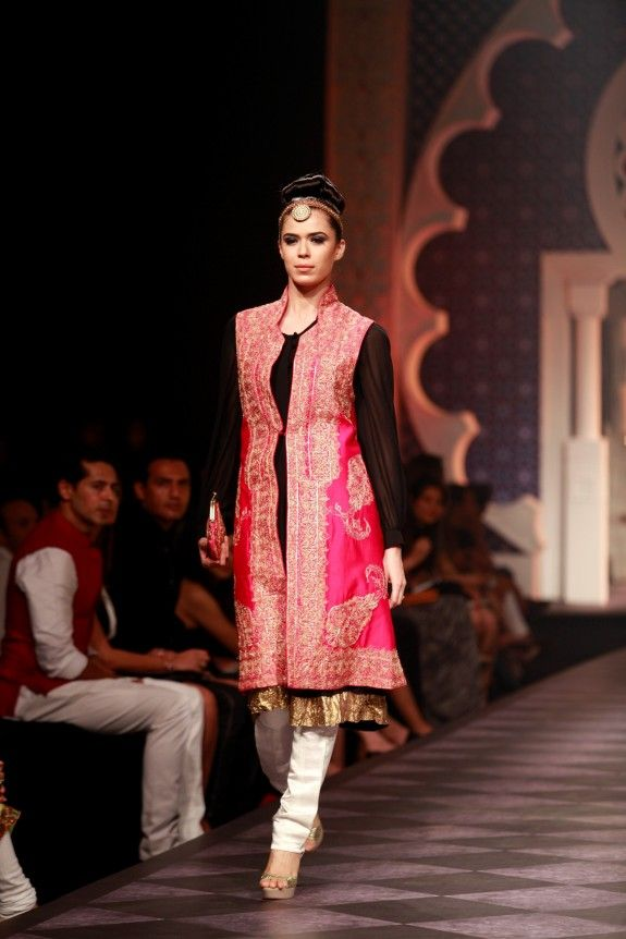 Black and pink jacket salwar - pretty! Raghavendra Rathore Aamby Valley Bridal Week 2013 Mumbai