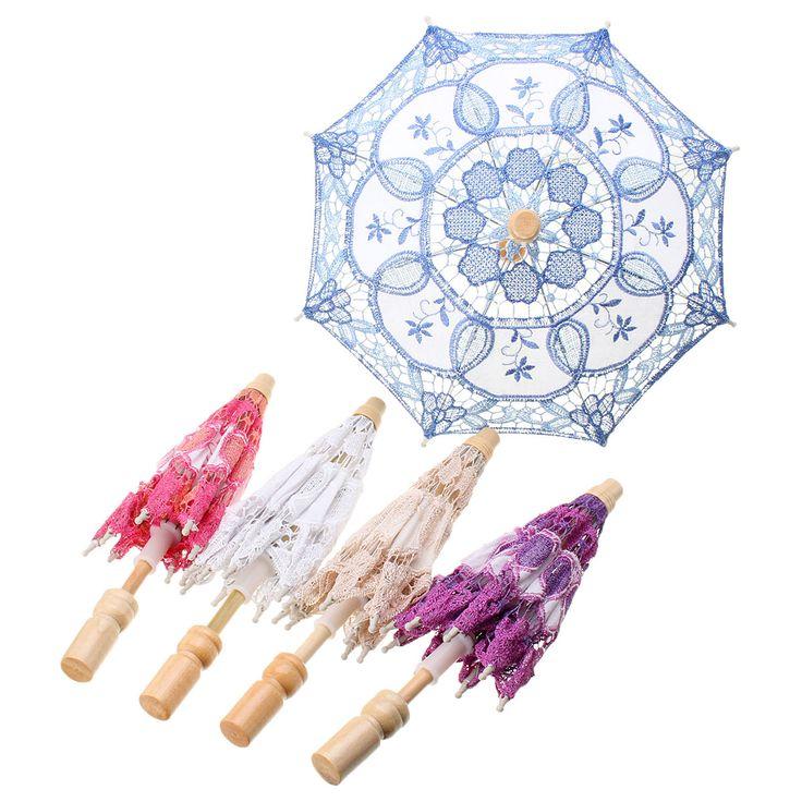 Lace Elegant Embroidered Parasol Umbrella For Bridal Wedding Party Prop Decoration