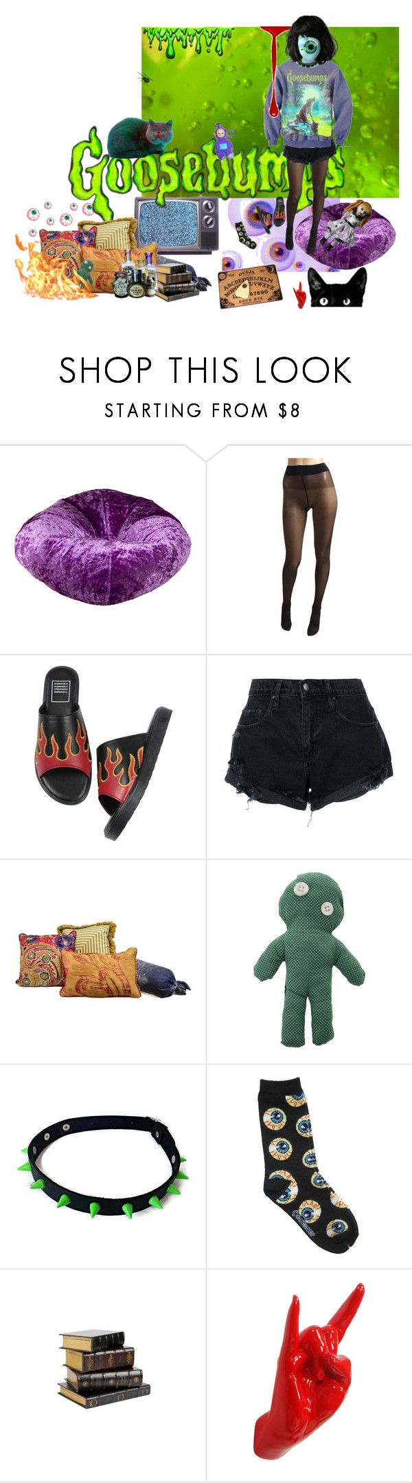 """""""Goosebumps #2"""" by moehelene ❤ liked on Polyvore featuring Ace Bayou, Wolford, Nobody Denim, Sissa, Thelermont Hupton, Halloween, creepy, october and GOOSEBUMPS"""