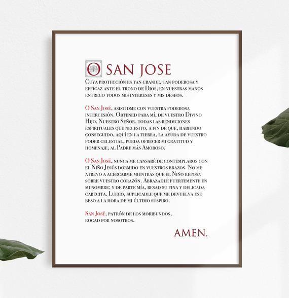 St Joseph Prayer Print English Spanish Catholic Wall Etsy St Joseph Prayer Catholic Wall Art Prayers