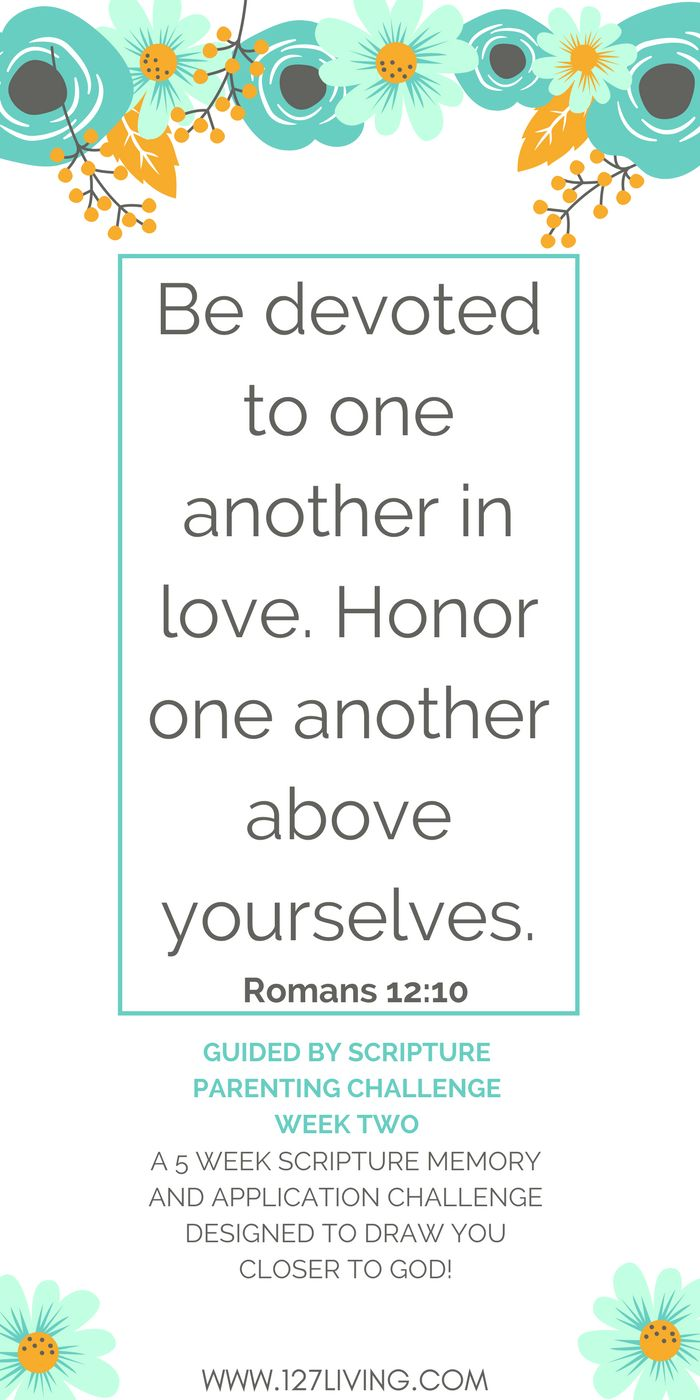 The importance of devotion and honor in our parenting, according to Romans 12:10 - Week 2 of the Guided by Scripture Parenting Challenge. Click through for this weeks Bible study and to sign up for our FREE challenge!
