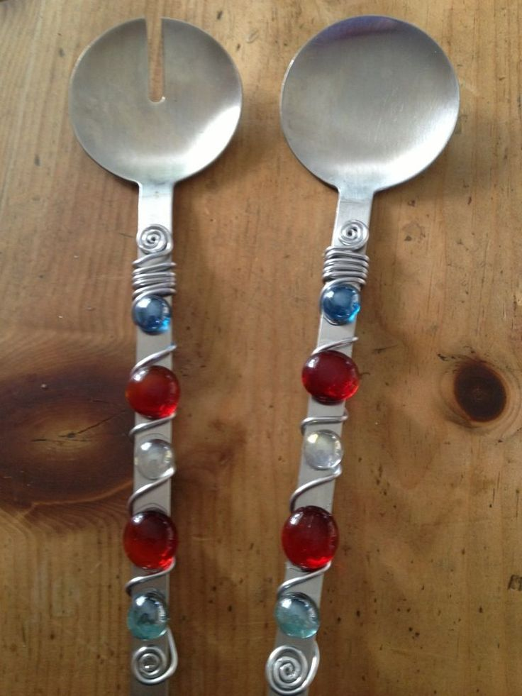 glass beades spoons | DIY glass beaded and wire wrapped serving spoon | Budget Gal From So ...