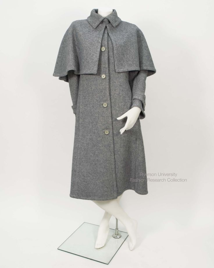 Grey wool Givenchy coat with cape. FRC 1989.01.002