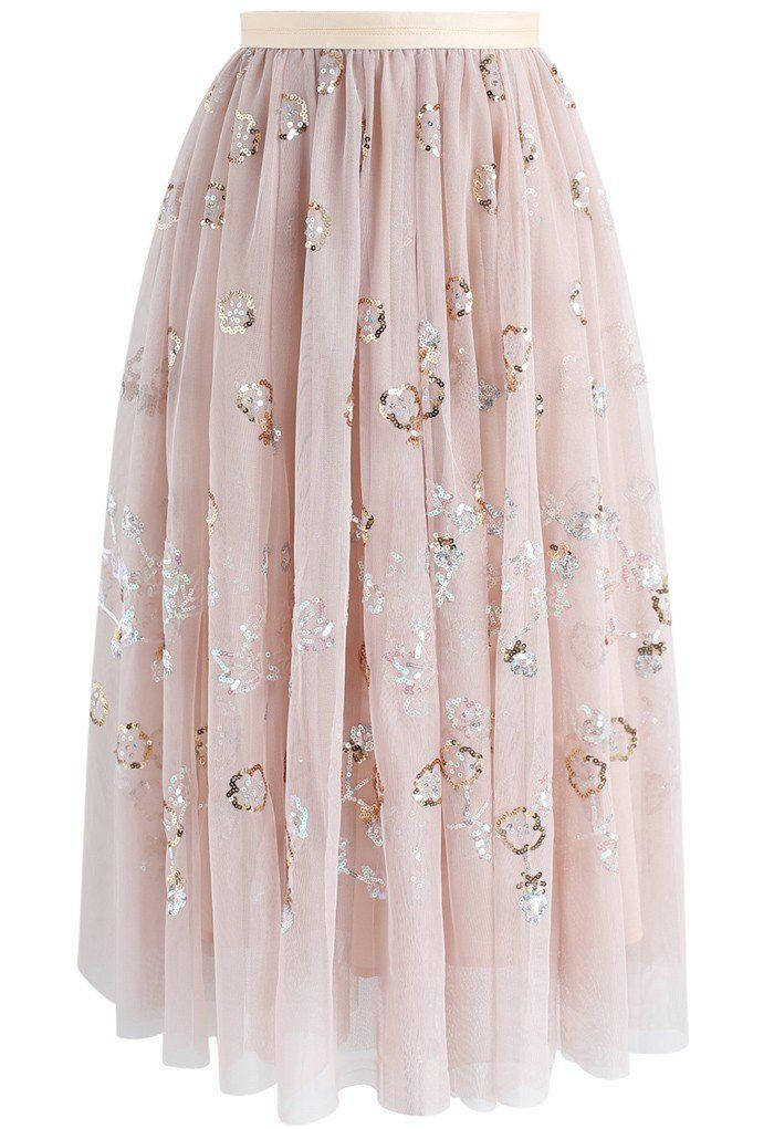 Sparkling Flowers Sequins Mesh Skirt in Nude- New Arrivals - Retro, Indie and Unique Fashion