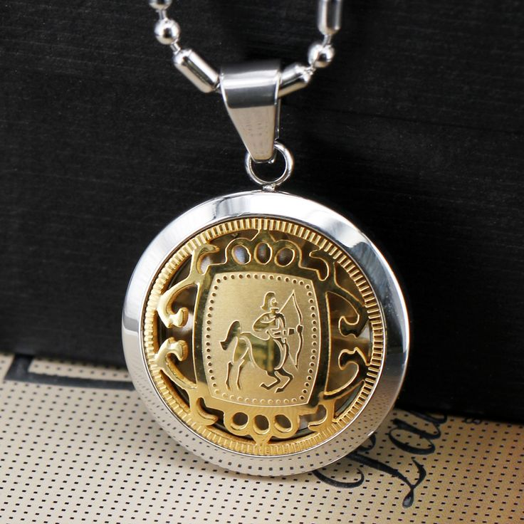 Stainless Steel Gold Inlaid Zodiac Suspension Necklace