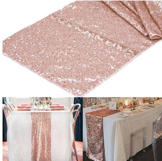 2pcs Rose Gold 12 X 108 Table Runners Sparkly Bling Table Runner Wedding Party Decorations Supply Sequin Table Runner Rose Gold Table Bling Table Decorations