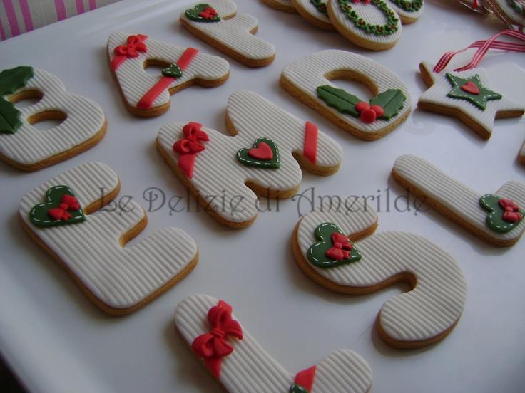 "Le Delizie di Amerilde. Xmas Cookies. ""Xmas letters"" Cookies. www.ledeliziediamerilde.it"