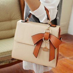 $16.47 Sweet Women's Tote Bag With Color Matching and Bow Design
