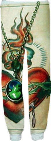 ZOMBIE CAMEO TATTOO Sweat Pants by L.e. Dubin by artful-apparel