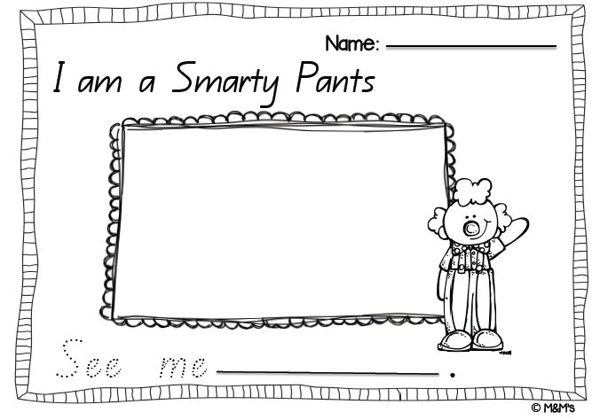 """""""Smarty Pants"""" Beginners Writing Page  From author Joy Cowley   Made by the M&M's"""