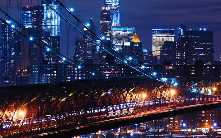 Download wallpapers Williamsburg, 4k, nightscapes, bridge, New York, USA, America