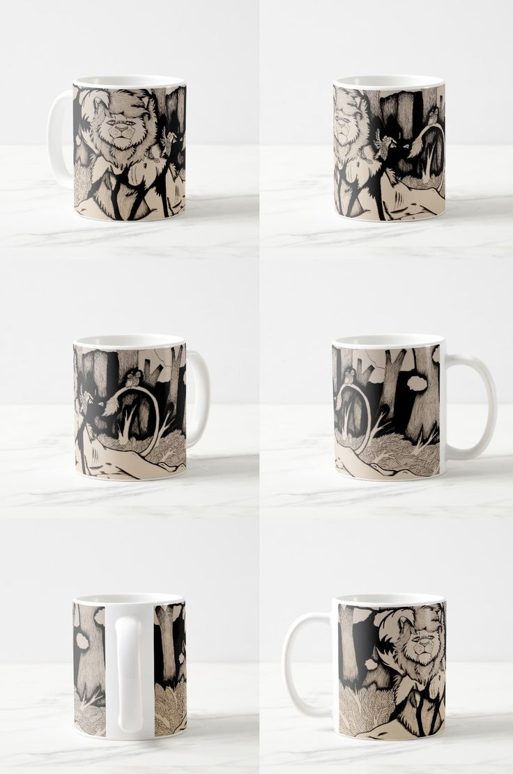 """Waiting for Daylight"" Coffee Mug #lion #wild_dog #art #illustration"