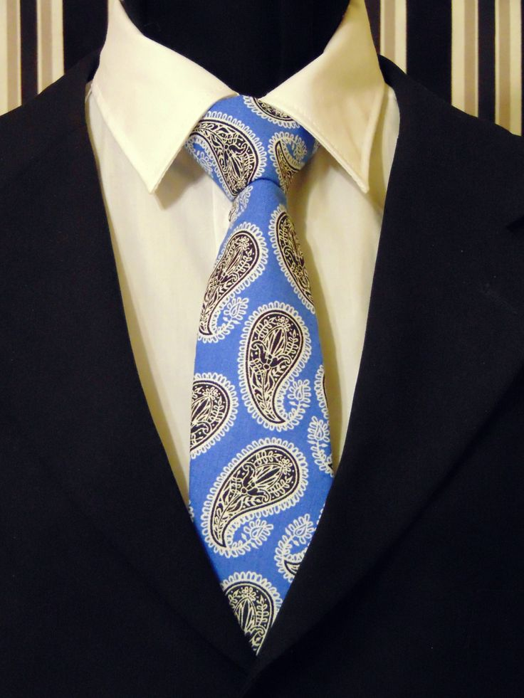 Blue Paisley Necktie, Blue Paisley Tie, Mens Necktie, Mens Tie, Black Necktie, Black Paisley Tie, Cotton Necktie, Cotton Tie, Gift, Father by EdsNeckties on Etsy