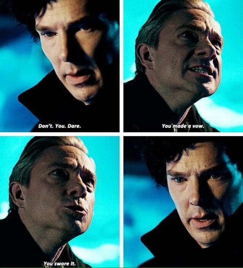 I understand his emotions behind blaming Sherlock, but dammit it pisses me off. He's angry at himself. He kinda sorta broke his own vow (to be faithful to his wife)--- and now he's taking it out on Sherlock. >_<