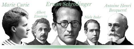 Collage: Erwin Schrödinger, Marie Curie, Albert Einstein, Nils Bohr and Henri Becquerel