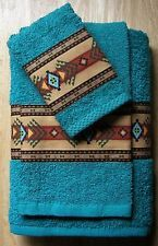 WESTERN/SOUTHWEST DECOR RUSTIC 3 PC TOWEL SET,TURQUOISE ,AZTEC BORDER,GORGEOUS