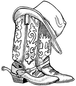 Cowboy Boots and Hat Unmounted Rubber Stamp  ed544fb959f