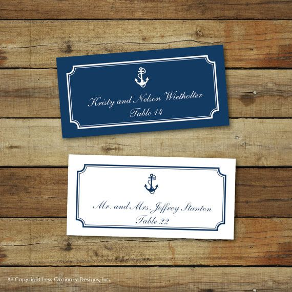 These printable wedding place cards come in two versions: Navy on white and white on navy. They feature an anchor, a border and then two lines of editable text for you to include a name, table number or any type of description that youd like. Take a look at the photos to get a rough idea of how many characters can be included. Print them on card stock, cut them on the crop marks and fold for the perfect place cards. They measure 3 x 1.5 when cut.  Each file includes room for 60 separate…