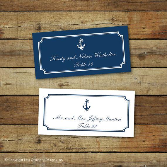 Printable wedding place cards nautical wedding by saralukecreative