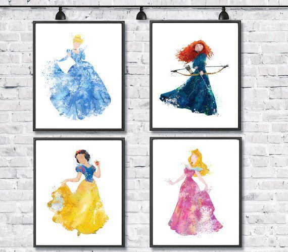 Disney Princess Watercolor Set, Disney Art, Cinderella, Snow White, Merida Brave, Sleeping Beauty Aurora, Girl Room Decor, Kids Nursery