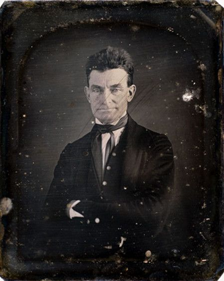Daguerreotype portrait by August Washington of John Brown, legendary abolitionist who led the Pottawatomie Massacre in Kansas, and the raid at Harpers Ferry in 1859.   This plate is possibly the first daguerreotype taken of Brown. (ca. 1846-47).  *s*