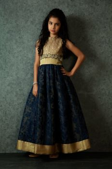 Net gown embellished with zardosi and zari work from #Benzer #Benzerworld #kidswear