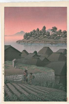 Hasui Kawase: Amakusa Sunset Woodblock