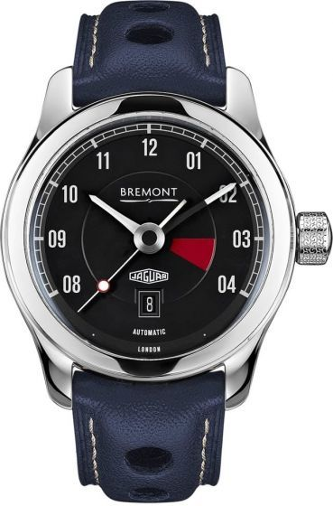 """Bremont Jaguar MKIII.The MKIII is the most pared back timepiece in the range yet still very much in keeping with the design of the MKI and MKII. The MKIII by comparison has a slightly slimmer 43mm polished steel case; the black tachometer-inspired dial design features the date window at the six o'clock position and carries the Jaguar heritage logo right above it. Its hour markings are reminiscent of the numerals found on E-Type instruments and the dial features a distinctive red line""""…"""