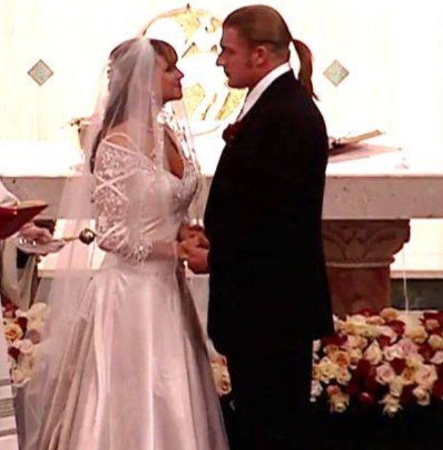 On October 25, 2003, WWE Superstar Triple H (Paul Levesque) married Stephanie McMahon in a traditional Catholic wedding ceremony at St. Theresa of Avila in Sleepy Hollow, New York. #WWE #wedding