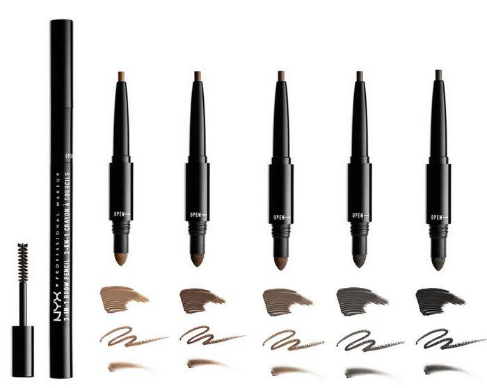 NYX Professional Makeup 3-in-1 Brow Pencil Summer 2017 Brunette — брюнет; Espresso — эспрессо; Ash Brown — пепельно-коричневый; Charcoal — угольный; Black — черный.