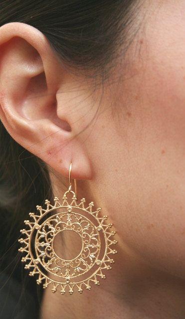 Gold Filigree Earrings. Gold Circle Earrings. by BellaJewelsInc