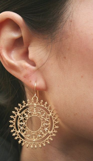 Gold Filigree Earrings. Gold Circle Earrings. by BellaJewelsInc