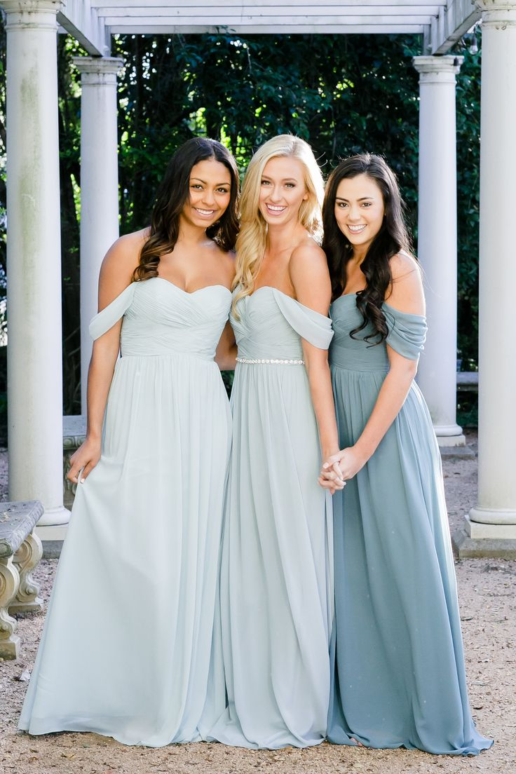 Mix and Match Revelry Bridesmaid Dresses and Separates. Kennedy Convertible Chiffon Bridesmaids Gowns pictured in Powder Sky, Love Bird, and Desert Blue Chiffon