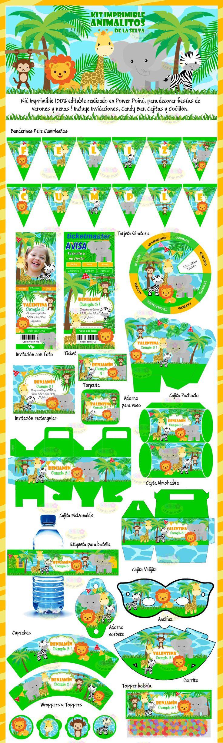 M 225 s de 1000 ideas sobre decoraciones de fiesta de safari en pinterest - Kit Imprimible Animalitos De La Selva Invitaciones Candy Bar