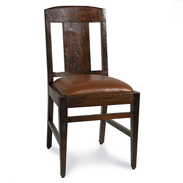Стул из массива тикового дерева с обивкой из натуральной кожи.             Метки: Кухонные стулья.              Материал: Дерево, Кожа натуральная.              Бренд: Teak House.              Стили: Лофт.              Цвета: Темно-коричневый.