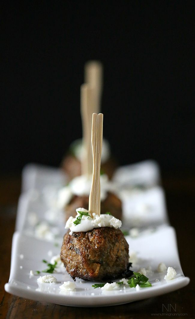 Simple, festive and elegant last minute holiday bites Greek Lamb Meatballs, Nutmeg Nanny