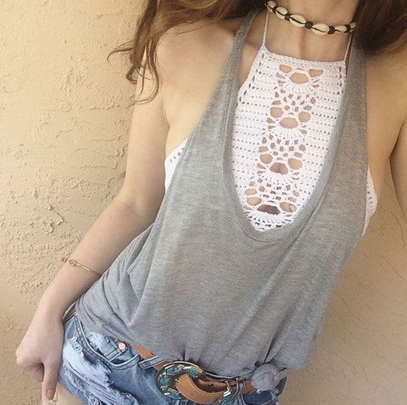 High neck crochet handmade white halter top bikini by Imyourgypsy