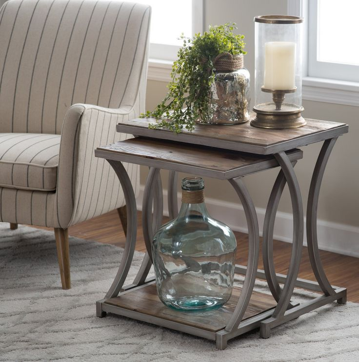 Reclaimed Wood Nesting End Tables - Driftwood