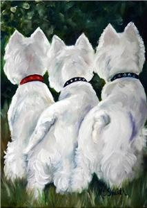 """Mary Sparrow Smith from Hanging the Moon – dog art, pets, portrait, paintings, gift ideas, home decor. Westie West Highland White Terriers. """"Three Amigos"""""""