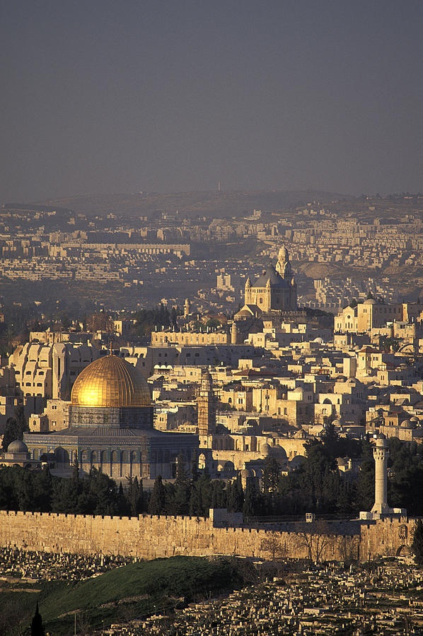 JERUSALEM, ISRAEL - View of the Old City of Jerusalem from Mount Scopus in Israel