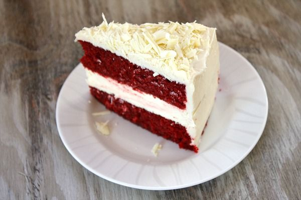 Recipe for Red Velvet Cheesecake Cake - 2 layers of red velvet with a layer of cheesecake inside- topped with cream cheese frosting. Photographs included.