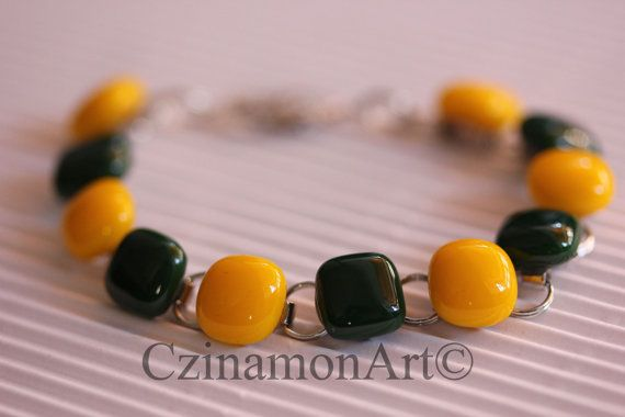 Yellow Green Fused Glass Bracelet by CzinamonArt on Etsy, €23.00