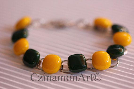 Yellow Green Fused Glass Bracelet by CzinamonArt on Etsy, €23.00