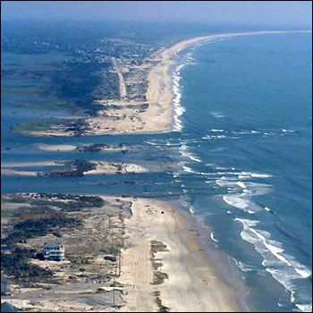 Outer Banks Beach Photo.  Damage from recent hurricane.