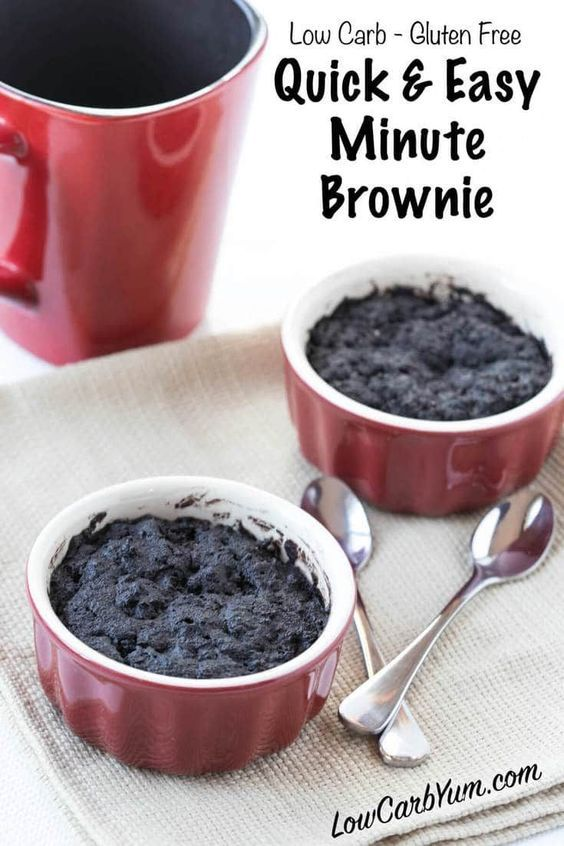 A delicious one minute chocolate brownie in a mug cake that bakes up in your microwave. Enjoy this simple low carb gluten free brownie recipe for a quick snack.