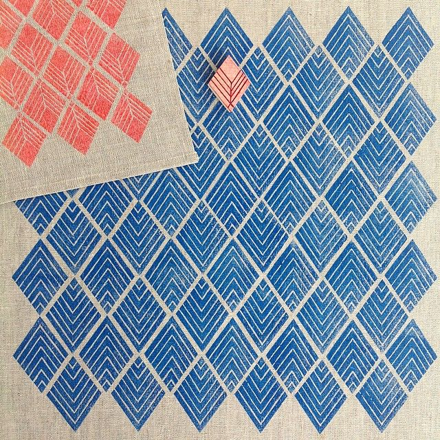 { week thirteen } of the #52weeksofprintmaking challenge 2015 by Yardage Design :: handcarved, blockprinted pattern