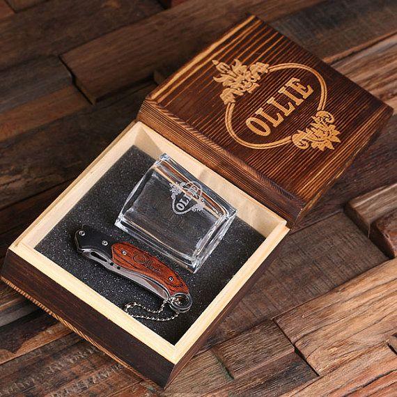 Couteau de poche monogramme gravé personnalisé tourné verre