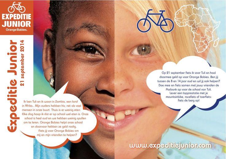 Op zondag 21 september fietsen sportieve kinderen op de Posbank (Gelderland) voor de kinderen van Orange Babies. Ben je 8 tot 14 jaar en houd je van een uitdaging, kijk dan op expeditiejunior.com!!!
